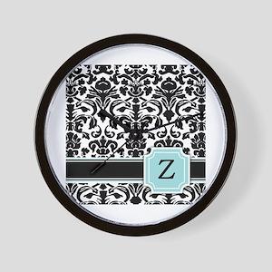 Letter Z Black Damask Personal Monogram Wall Clock