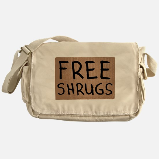 Free Shrugs Cardboard Sign Messenger Bag