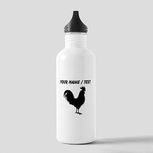 Custom Rooster Silhouette Water Bottle