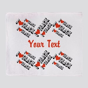 Customize I Love Track Throw Blanket