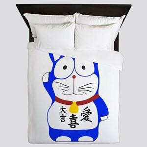 Maneki Neko - Japanese Lucky Cat Queen Duvet