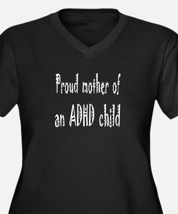 Plus-size V-neck dark T for mother of ADHD child