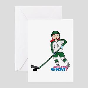 Hockey Player Girl Light/Red Greeting Card
