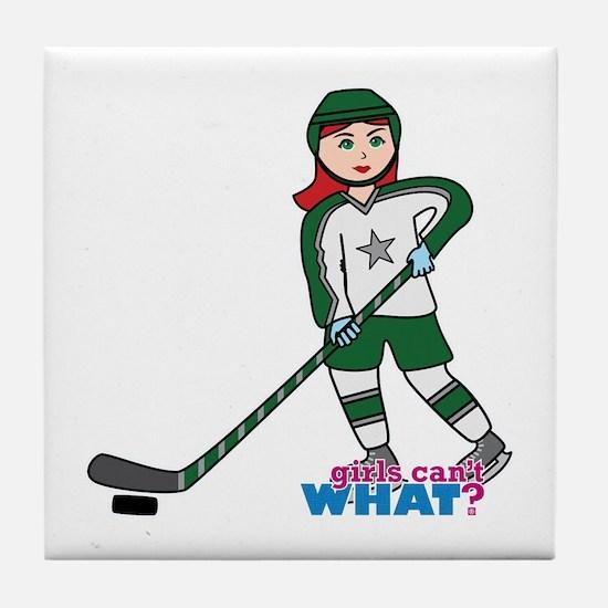 Hockey Player Girl Light/Red Tile Coaster