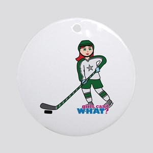 Hockey Player Girl Light/Red Ornament (Round)