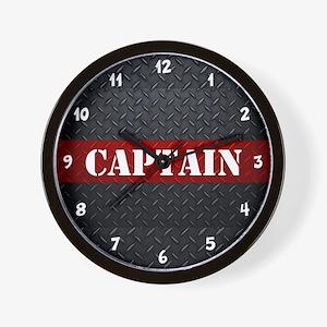 Fire Captain Diamond Plate Wall Clock