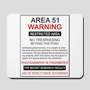 Area 51 Warning Mousepad