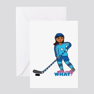 Hockey Player Girl Dark Greeting Card