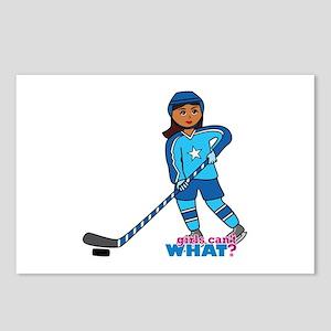 Hockey Player Girl Dark Postcards (Package of 8)