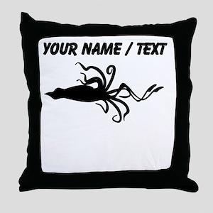 Custom Squid Silhouette Throw Pillow