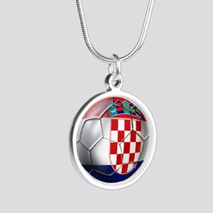 Croatian Football Silver Round Necklace