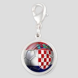Croatian Football Silver Round Charm