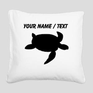 Custom Sea Turtle Silhouette Square Canvas Pillow