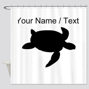 Custom Sea Turtle Silhouette Shower Curtain