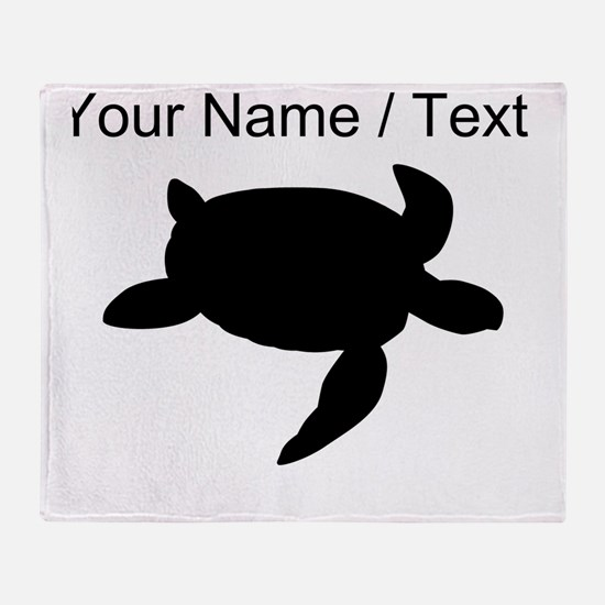 Custom Sea Turtle Silhouette Throw Blanket