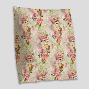 Vintage Santa Burlap Throw Pillow