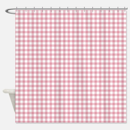 Pretty Pink Gingham Shower Curtain