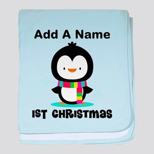 Babys 1st Christmas Personalized penguin baby blan