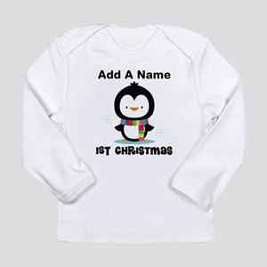 Babys 1st Christmas Personalized penguin Long Slee