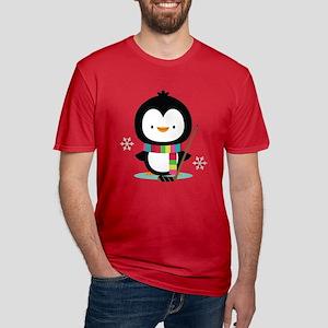 Hockey Christmas Penguin Men's Fitted T-Shirt (dar