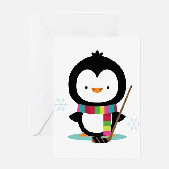 Hockey Christmas Penguin Greeting Card