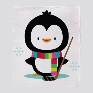 Hockey Christmas Penguin Throw Blanket