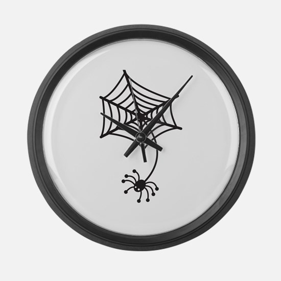 cute Spider in a web Large Wall Clock