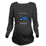 Blue Tractor Junkie Long Sleeve Maternity T-Shirt