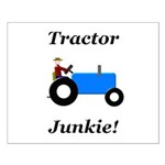 Blue Tractor Junkie Small Poster