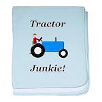 Blue Tractor Junkie baby blanket