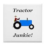 Blue Tractor Junkie Tile Coaster