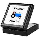 Blue Tractor Junkie Keepsake Box
