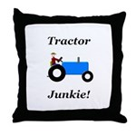 Blue Tractor Junkie Throw Pillow