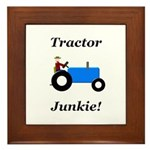 Blue Tractor Junkie Framed Tile