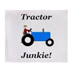 Blue Tractor Junkie Throw Blanket