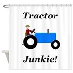 Blue Tractor Junkie Shower Curtain