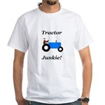 Blue Tractor Junkie White T-Shirt