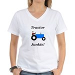 Blue Tractor Junkie Women's V-Neck T-Shirt