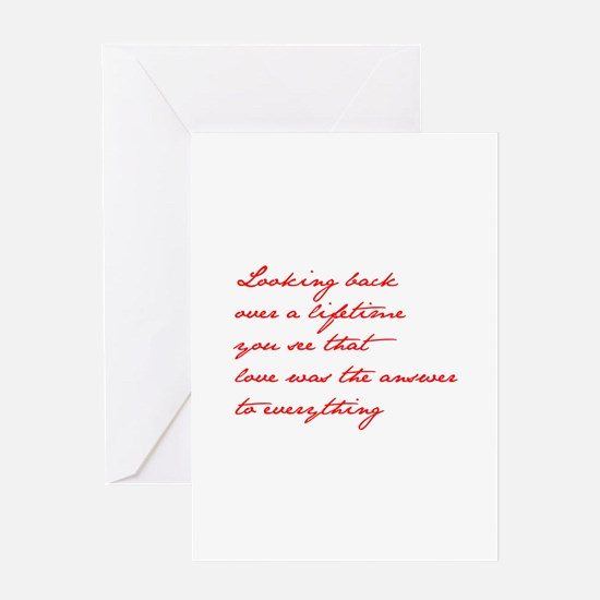 looking-back-love jane red Greeting Cards