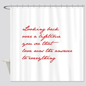 looking-back-love jane red Shower Curtain