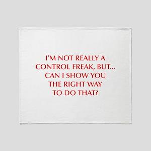 CONTROL-FREAK-OPT-RED Throw Blanket