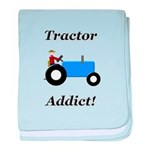 Blue Tractor Addict baby blanket