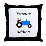 Blue Tractor Addict Throw Pillow