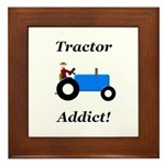 Blue Tractor Addict Framed Tile