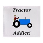 Blue Tractor Addict Throw Blanket