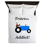 Blue Tractor Addict Queen Duvet