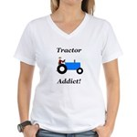 Blue Tractor Addict Women's V-Neck T-Shirt