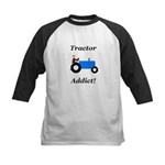 Blue Tractor Addict Kids Baseball Jersey