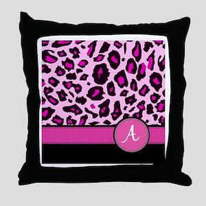 Pink Leopard Letter A monogram Throw Pillow