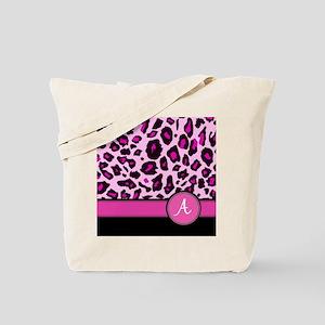 Pink Leopard Letter A monogram Tote Bag